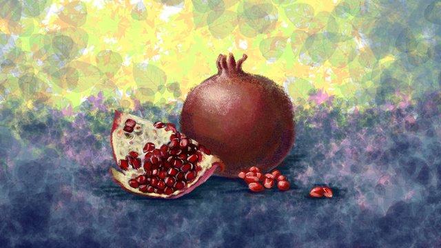 손으로 그린 빈티지 텍스처 과일   석류 삽화 소재