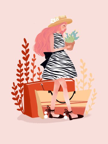 Original illustration beautiful literary girl holding a flower pot, Girl, Beauty, Small Fresh illustration image