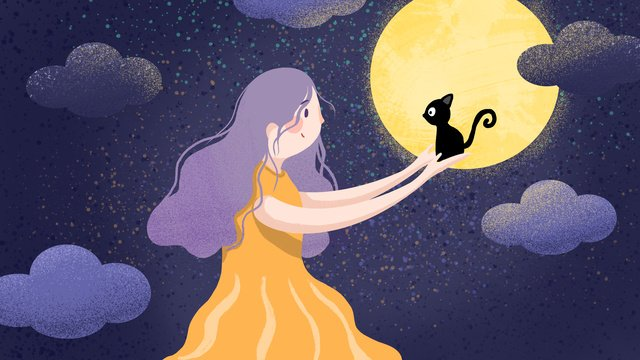Girl who wants to have a cat, Girl, Cat, Dream illustration image