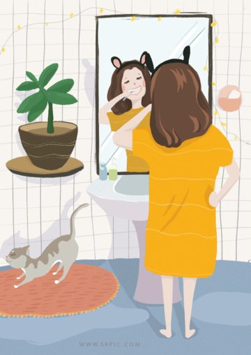 good morning girl flat fresh original illustration llustration image