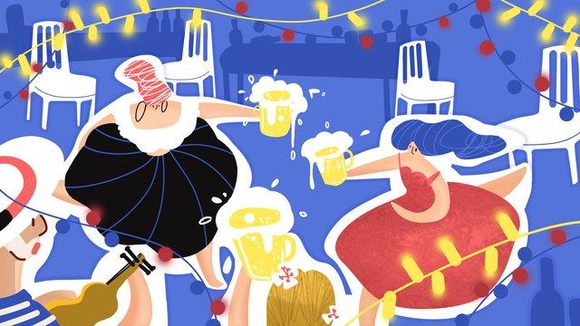 冰爽一夏啤酒節原創 插畫素材 插畫圖片