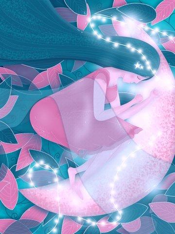 Девушка и луна спокойной ночи мечты Ресурсы иллюстрации