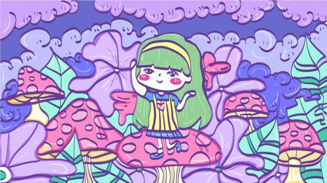 My travel little fresh girl illustration, Girl, Pink, Lovely illustration image