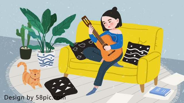 creative illustration home life girl playing guitar llustration image