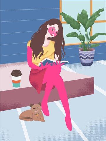 部屋で本を読む女の子のオリジナルベクトルイラスト イラスト素材 イラスト画像