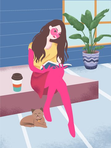 original vector illustration of girl reading a book in the room llustration image