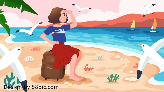 One person goes to the beach alone travel original hand painted illustration llustration image illustration image