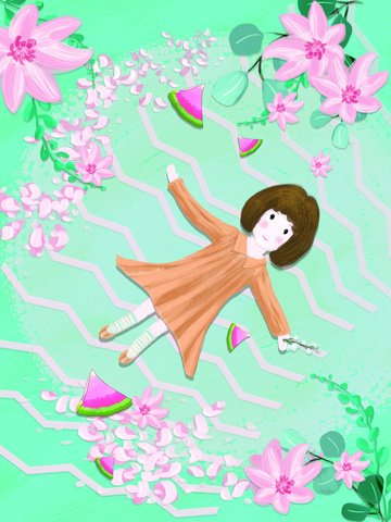 original summer hello hand drawn girl with flower illustration llustration image