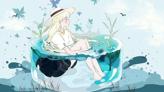 안녕하세요 푸른 바다의 여아 삽화 소재 삽화 이미지