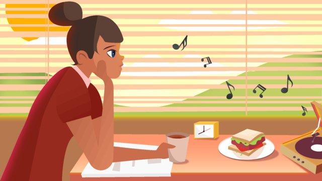 早安系列吃早餐聽音樂的女孩 插畫素材 插畫圖片