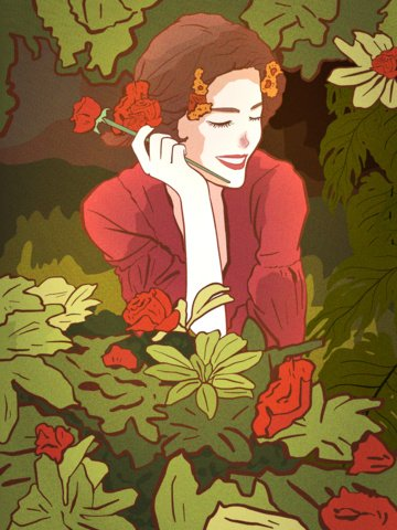 good morning hello girl garden rose healing illustration llustration image