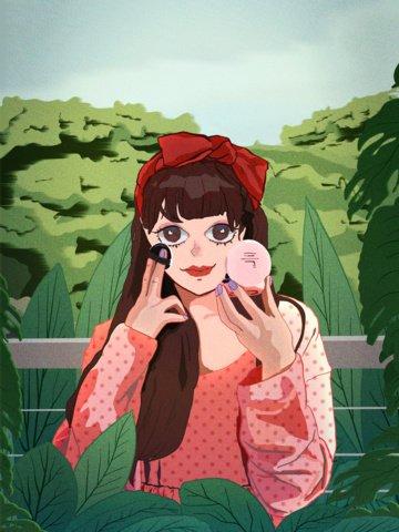 good morning sweet girl wild makeup cure illustration illustration image