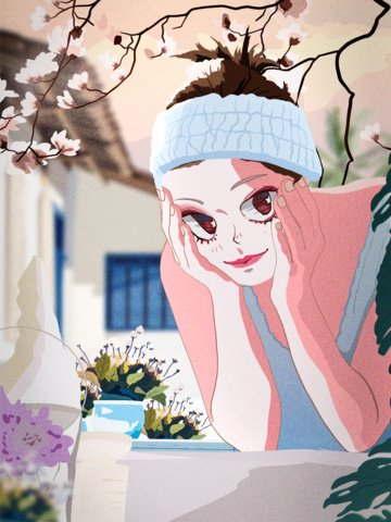 good morning beautiful face cure illustration illustration image