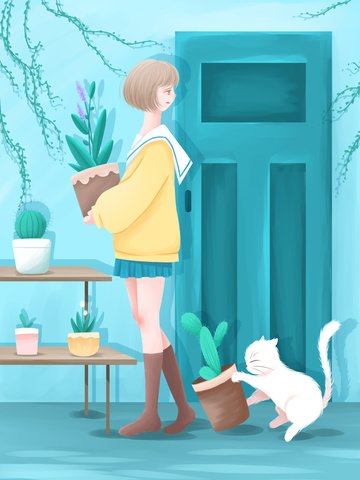 good morning hello fresh watercolor illustration early girl and cat moving in flower pots llustration image