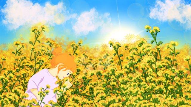 좋은 아침 데이지 가든의 어린 소녀 삽화 소재