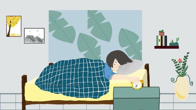 おはようございます、おはようございます、ベッド、イラスト イラスト素材