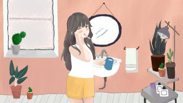 おはようございます、こんにちは、朝、混乱 イラストレーション画像 イラスト画像