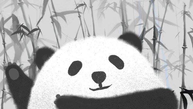 panda墨竹林水墨熊貓插畫 插畫素材