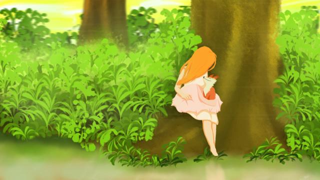 좋은 아침 어린 소녀와 작은 여우의 만남 삽화 소재