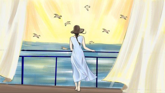 おはよう女の子、帽子をかぶって イラスト素材 イラスト画像