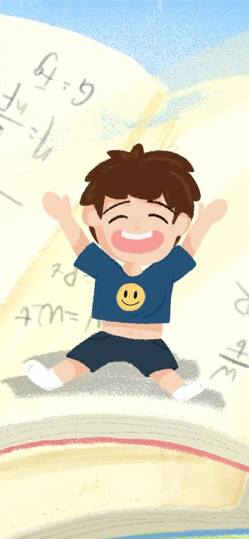 hello good morning cartoon boy book small fresh illustration llustration image