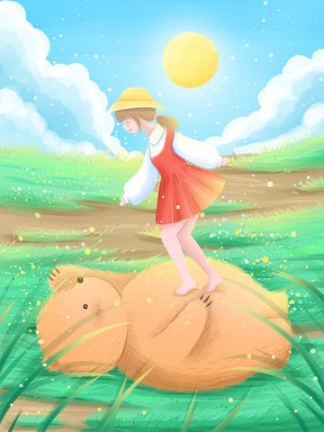 good morning hello beautiful cure illustration get up early look for the little bear to play with girl llustration image illustration image