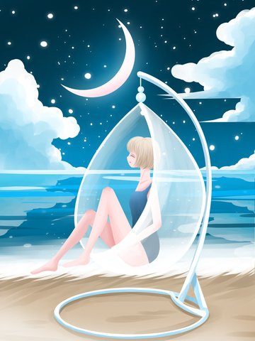 Good night world beautiful cure illustration girl sleeping at the beach, Good Night, Good Night World, Night illustration image