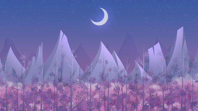 좋은 밤 안녕 달빛 숲 삽화 소재 삽화 이미지