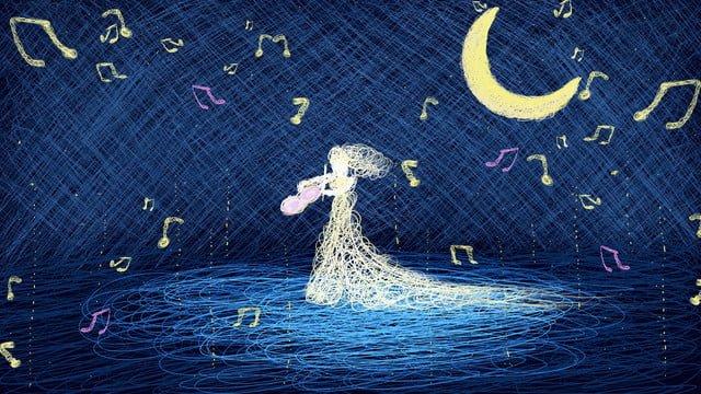 Original coiled violin girl good night hello llustration image illustration image