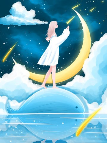 Good night world beautiful cure illustration girl on the whale back llustration image
