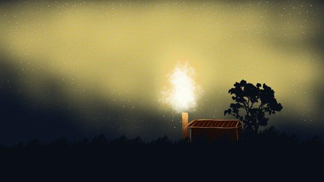 癒し系暖かい星空夜8月9月秋こんにちはポスター イラスト素材 イラスト画像