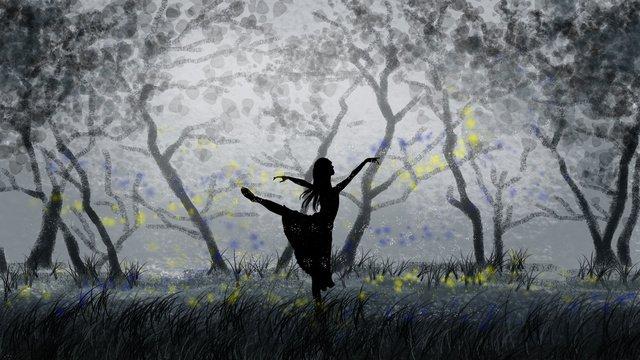 手描きの森で踊る女の子 イラスト素材