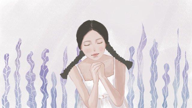 こんにちは、少女の祈り小新鲜手描きイラスト イラスト素材