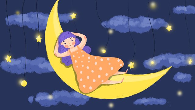 Good night dream moon girl, Good Night, Hello There, Good Dream illustration image