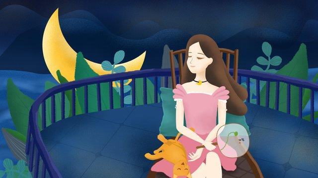 original illustration good night hello girl home llustration image illustration image