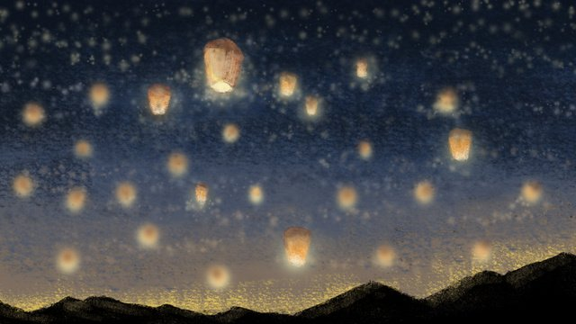 Hand-painted healing dream lantern, Good Night, Hello There, Kongming Lantern illustration image