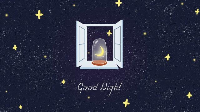ngủ ngon chào đêm sao ánh trăng cửa sổ bầu trời đầy Hình minh họa