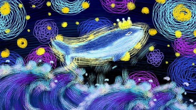 Original illustration   hello good night starry sky llustration image