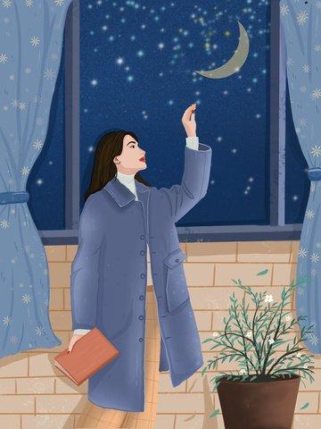 おやすみな世界癒し系手描きイラストおやすみなさいの世界  エステティックヒーリングシステム  オリジナルの手描きイラスト PNGおよびPSD illustration image