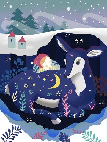 Hello world beautiful cure girl and deer illustration, Good Night World, Girl With Deer, Aesthetic Healing illustration image