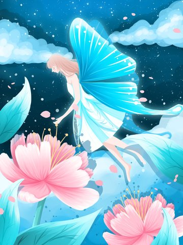 Good night world beautiful healing illustration butterfly girl in flowers, Good Night World, Good Night, Night illustration image