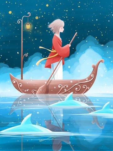 おやすみ世界美しい癒しイラスト夜の湖でボートを漕ぐ女の子 イラスト素材