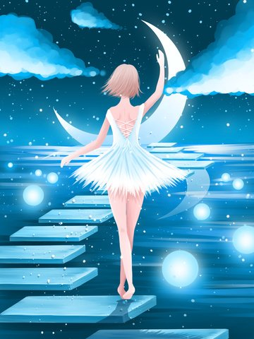 Good night world beautiful healing illustration water dancing girl, Good Night World, Good Night, Night illustration image