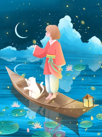 Good night world beautiful cure illustration boat watching fireflies llustration image illustration image