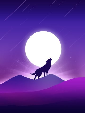 Purple scene gradient beautiful lone wolf illustration vertical poster, Gradient, Illustration, Scene Gradient illustration image
