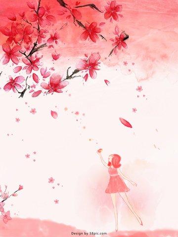 水彩ピンク春の花オリジナルイラスト イラスト素材 イラスト画像