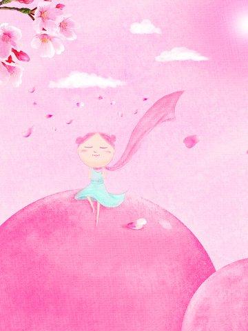 crayon pink gradient spring blossoms original illustration illustration image