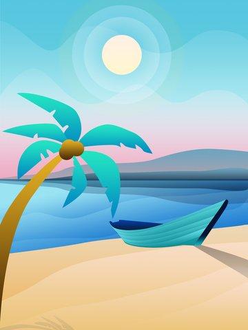 Оригинальный солнечный пляж синий пейзаж градиент иллюстрации Ресурсы иллюстрации