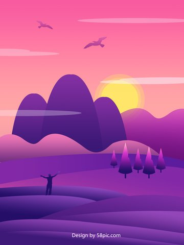 Gradient landscape illustration, Gradient, Landscape Illustration, Illustration illustration image