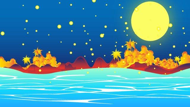 The night view of sea moon island healing system beautiful gradient wind illustration, Gradient, Phone Wallpaper, Round Moon illustration image